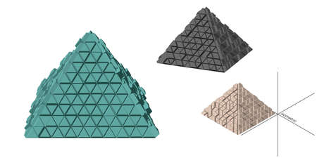 Abstract futuristic pyramid set. Isolated on white background. 3d Vector illustration. Different viewes.