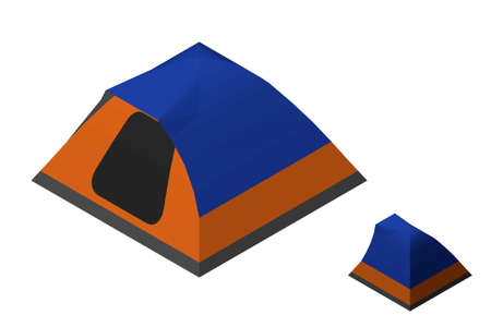 Camping tent. Isolated on white background. 3d Vector illustration. Isometric projection.