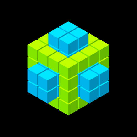 Abstract 3d shape from cubes. Isolated on black background. Vector illustration. Isometric projection.  Ilustrace