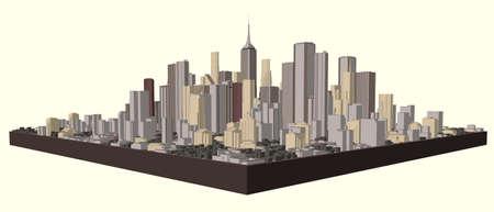 Modello 3D della città. Illustrazione vettoriale. Vettoriali