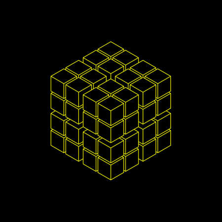 Abstract 3d cube from cubes. Isolated on black background. Isometric projection. Vector outline illustration.