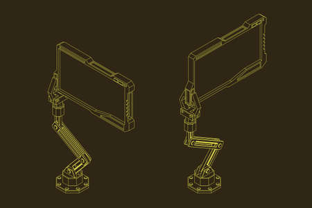 Robotic arm with futuristic monitor. Vector outline illustration. Isometric projection.