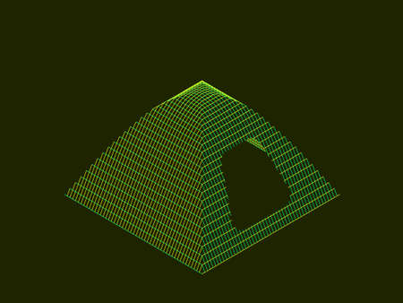 Camping tent wireframe. Vector contour illustration. Isometric projection.
