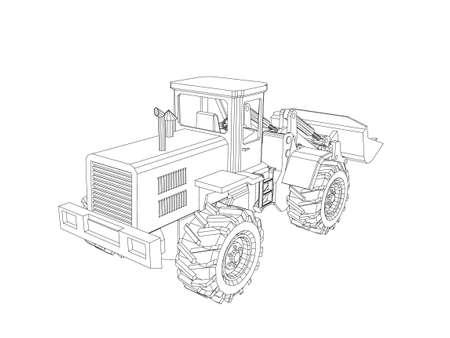 Bulldozer. Isolated on white background. Vector outline illustration. Vettoriali