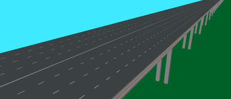 Highway on supports. 3d Vector illustration.