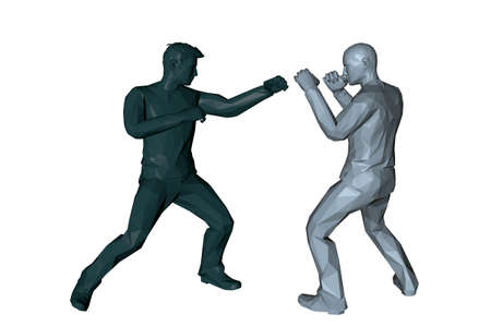 Men fighting. 3d Low poly vector illustration. Isolated on white background.