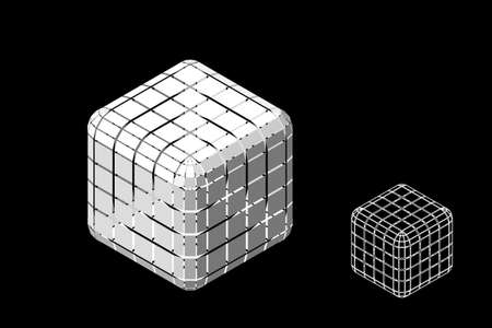 Abstract polygonal cube with cuts. Isolated on black background. 3d Vector illustration. Isometric projection. Ilustrace