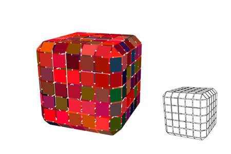 Abstract polygonal cube with cuts. Isolated on white background. 3d Vector illustration. Ilustração