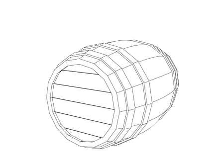 Wooden barrel. Vector outline illustration.