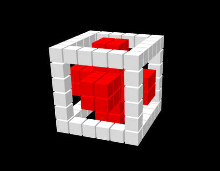 Abstract 3d cube from cubes. Isolated on black background. Vector illustration. Ilustração