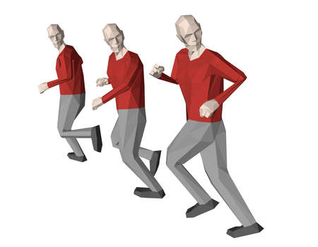 Low poly men runs looking back. Isolated on white background. 3d vector illustration. 일러스트