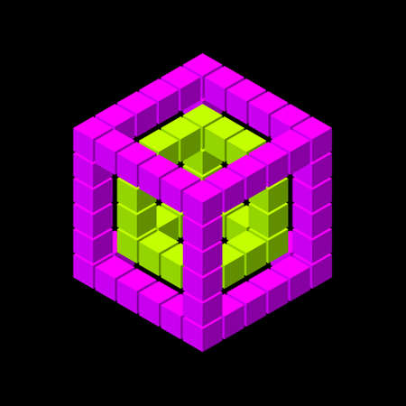 Wireframe cube from cubes. Isolated on black background. Vector illustration. Isometric projection. Ilustração