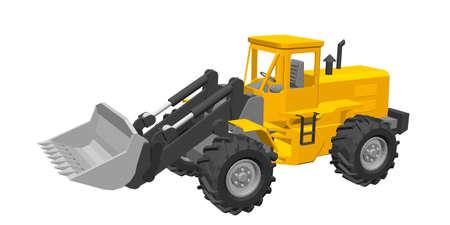 Bulldozer. Isolé sur fond blanc. Illustration vectorielle 3D. Vecteurs