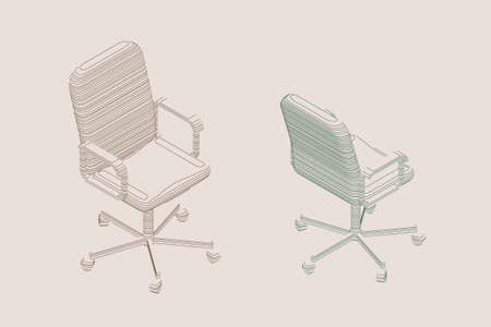 Striped Office chair. Vector contour illustration. Isometric projection.