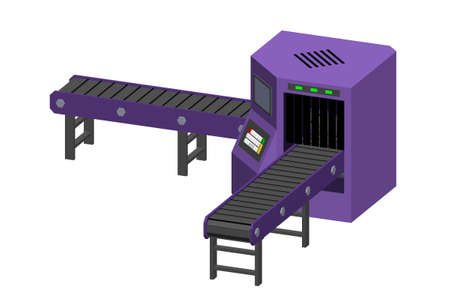 Empty conveyor belt with monitor. Isolated on white background. 3d Vector illustration. Dimetric projection.