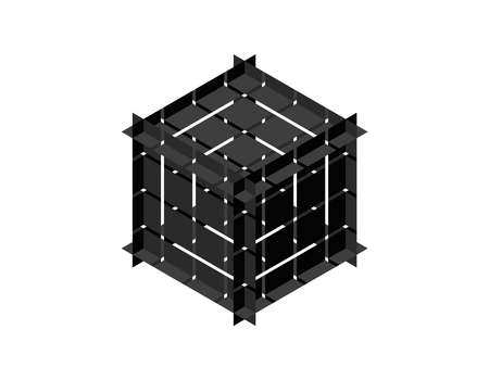Abstract polygonal broken cube. Isolated on white background. 3d Vector illustration. Isometric projection. Ilustração