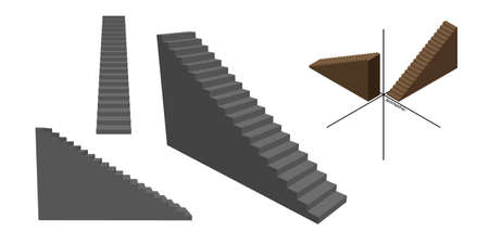 Stairway set. Isolated on white background. 3d Vector illustration. Different viewes.