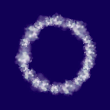 Ring of white clouds. Isolated on blue background. Vector illustration. 向量圖像