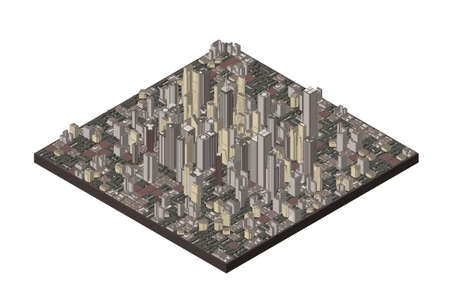 3D model of city. Isolated on white background. Vector illustration. Isometric projection.