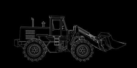 Bulldozer. Vector outline illustration. Isolated on black background. Vettoriali