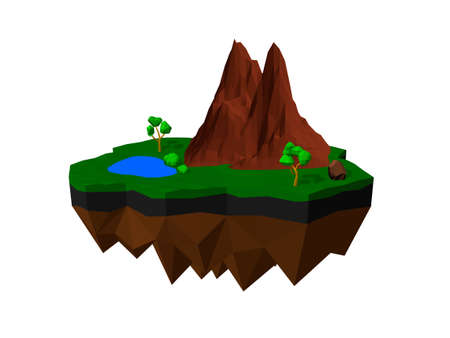 Floating island. Isolated on white background. 3D low poly vector illustration.