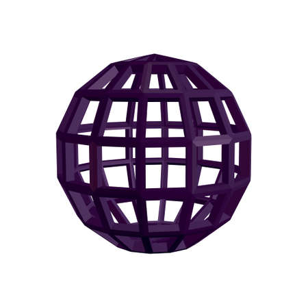 Abstract sphere wireframe. 3d Vector illustration. Isolated on white background.