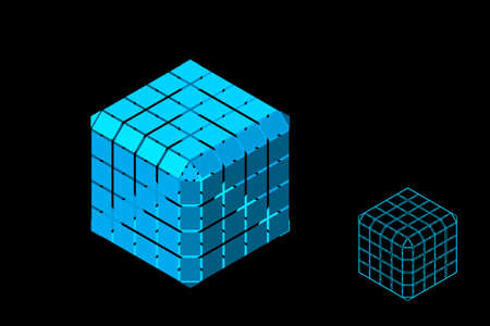 Abstract polygonal cube with cuts. Isolated on black background. 3d Vector illustration. Isometric projection. Ilustração