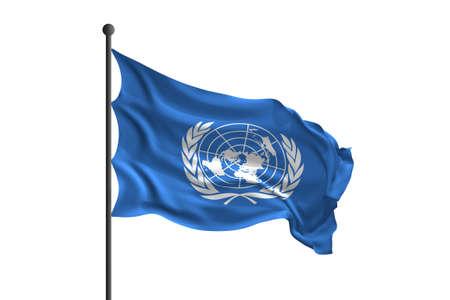 Waving flag of United Nations. 3D rendering illustration.