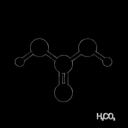 Carbonic acid model molecule. Isolated on black background. Sketch illustration. 写真素材