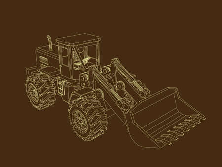 Bulldozer. Vector outline illustration.