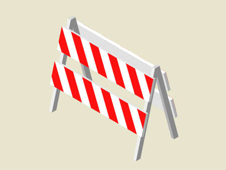 Traffic barrier. 3d Vector illustration. Isometric projection.