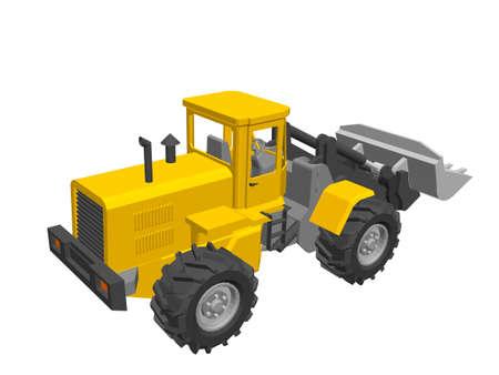 Bulldozer. Isolated on white background. 3d Vector illustration.