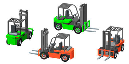Forklift truck. Isolated on white background. 3d Vector illustration. Dimetric projection. Different viewes. Vector Illustratie