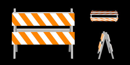 Traffic barrier. 3d Vector illustration. Different viewes.