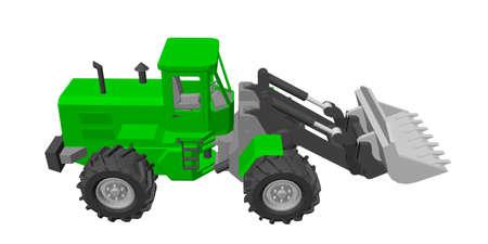 Bulldozer. Isolé sur fond blanc. Illustration vectorielle 3D.