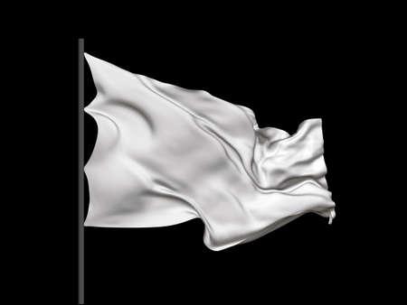 Blank white waving flag. Vector illustration. No gradient, no gradient mesh.