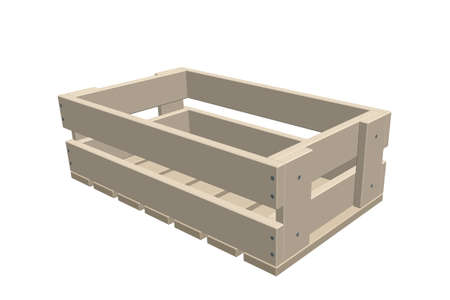 Empty wooden crate. Isolated on white background. 3d Vector illustration.