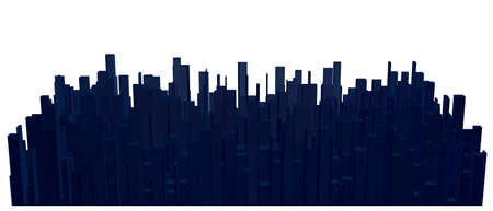 Abstract model of city. 3d Vector illustration.