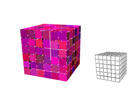 Abstract polygonal cube with cuts. Isolated on white background. 3d Vector illustration. Stock Illustratie