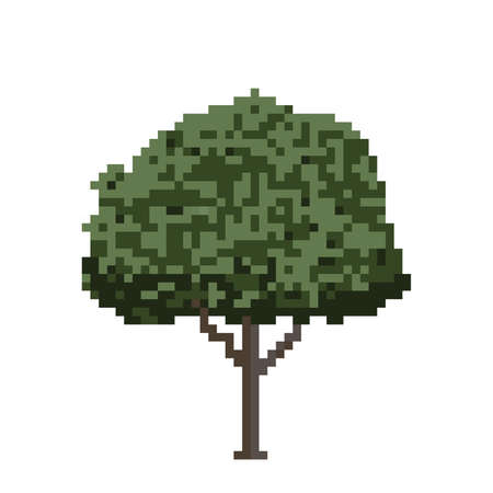 Apple tree. Isolated on white background. Vector illustration. Pixel art.