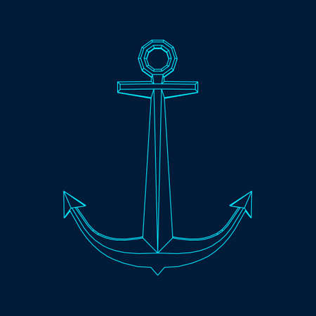 Nautical anchor. Vector outline illustration. Front view. Stock Illustratie