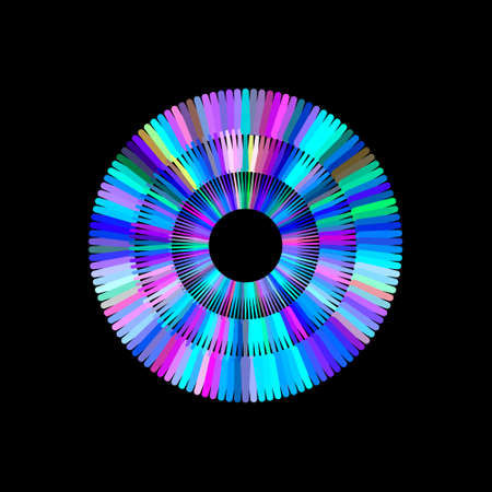 Circle from beams. Isolated on black background. Vector colorful illustration. Stock Illustratie
