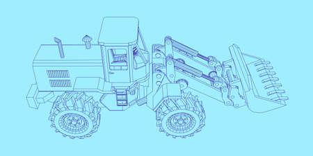 Bulldozer. Vector outline illustration. Vettoriali