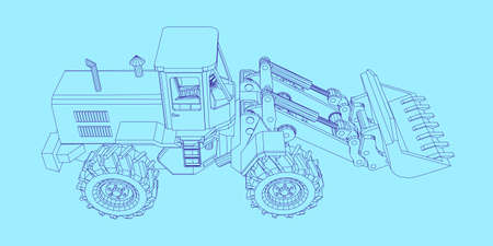 Bulldozer. Vector outline illustration. Illustration