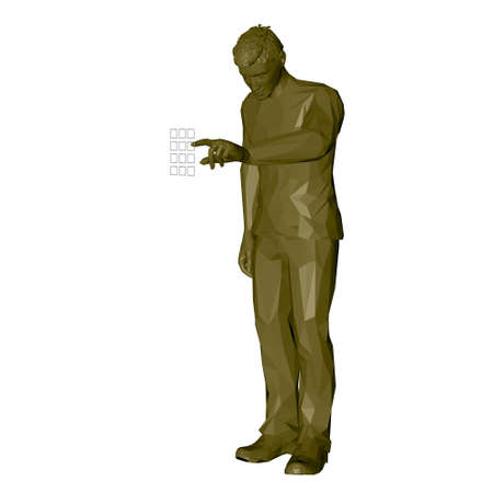 Man entering pin code. 3d Low poly vector illustration. Isolated on white background.