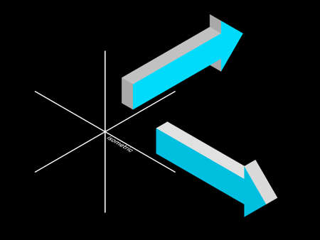 3d Arrow sign set. Isolated on black background. Vector illustration. Isometric projection.
