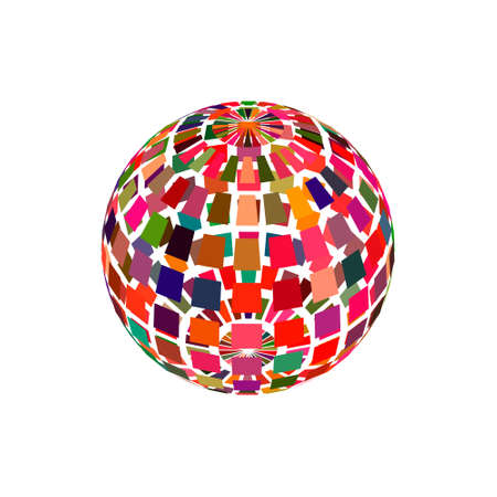 Abstract polygonal broken sphere. Isolated on white background.3d Vector colorful illustration.
