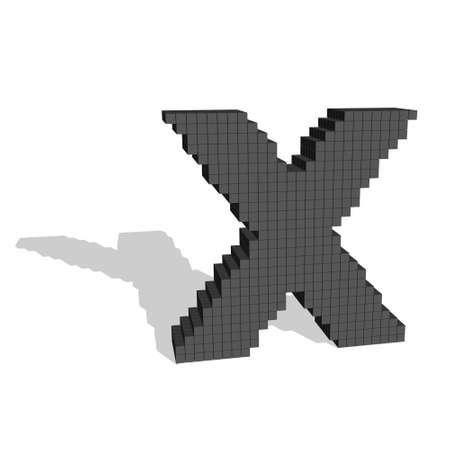 3d pixelated capital letter X. Isolated on white background.Vector illustration. Stock Illustratie