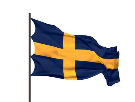 Waving flag of Sweden. Vector illustration. No gradient, no gradient mesh.