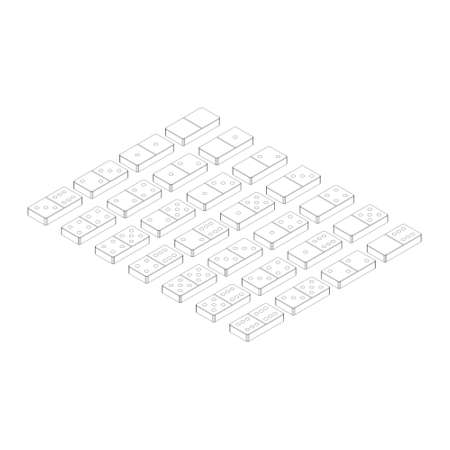 Domino set.Isolated on white background. Vector outline illustration.3d isometric style.